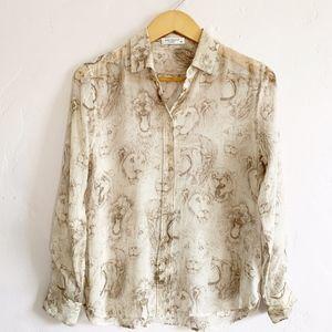 Equipment Femme Silk Lion Print Blouse Size S/P